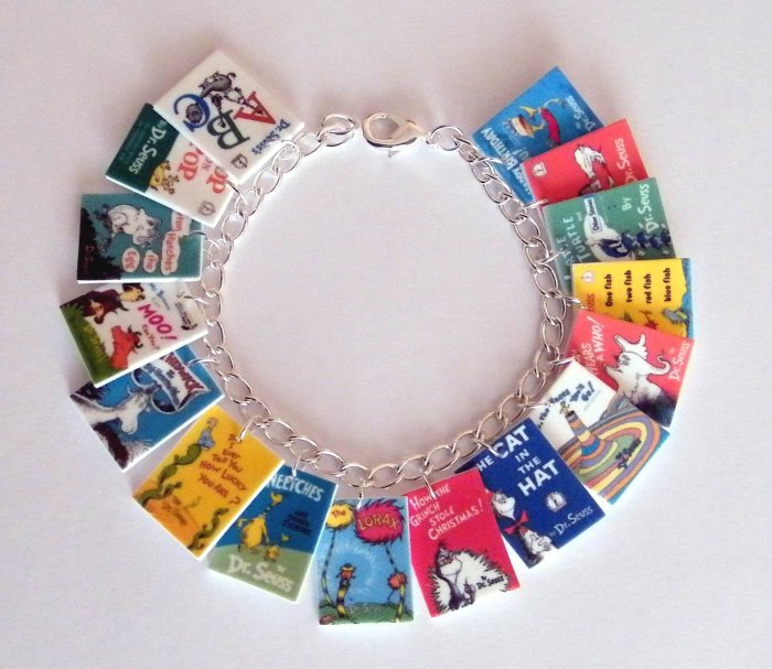 Dr Seuss Book Cover Charm Bracelet