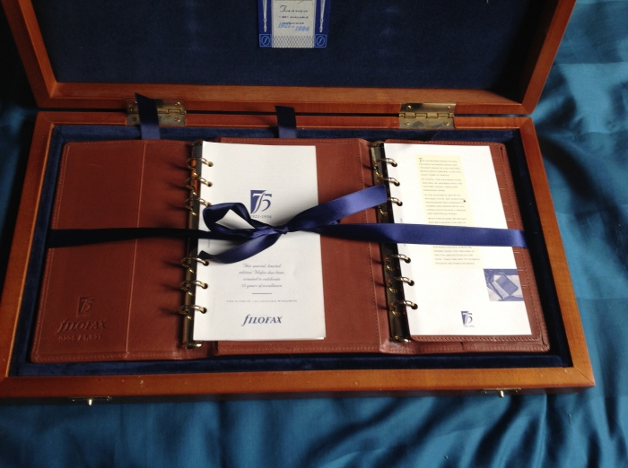 Blue satin ribbons to hold everything in place