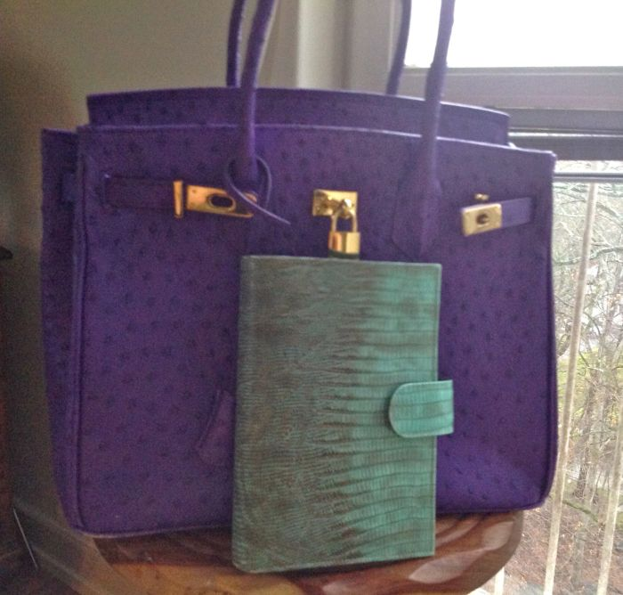Purple Vanilla Paris bag with Medium Aqua Scorpion