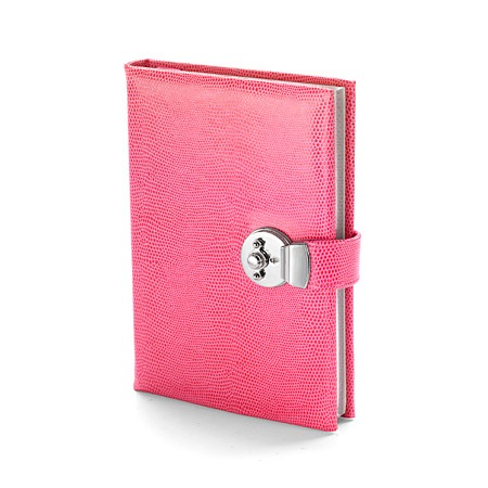 Aspinal - pink lizard lockable journal. Reduced from £89 to £26.70