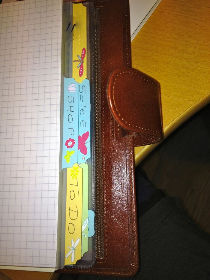 My homemade dividers. Brightened up a bit with transfers, though I am not handy or creative at all.