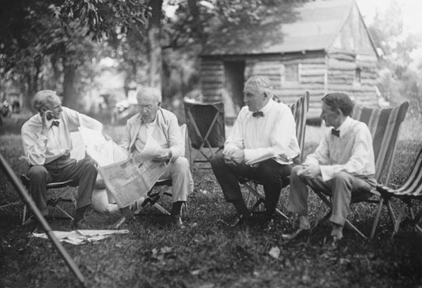 Henry Ford, Thomas Edison, Warren G. Harding and Harvey Firestone