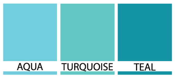 Differences between turquoise teal and aqua janet carr for Show me the color green