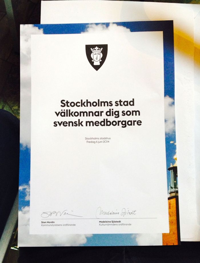 The certificate every new citizen receives from the City of Stockholm