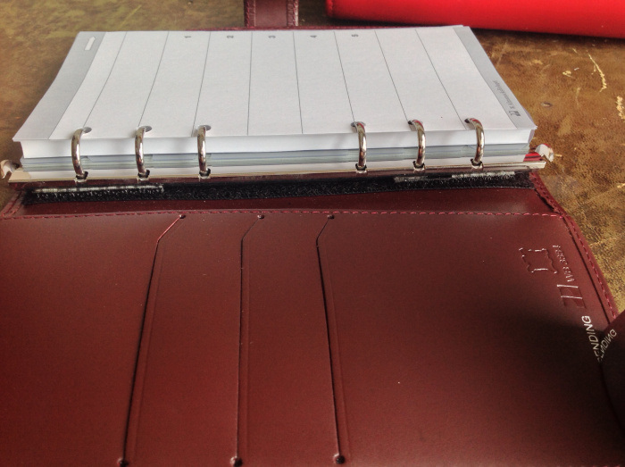 PP binder with exchangeable rings attached with Velcro