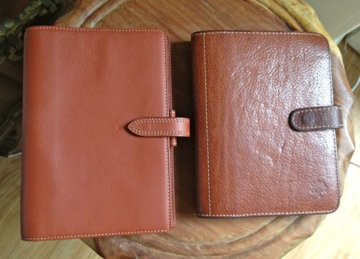 Filofax Belmont in personal size to the left, and Mulberry Agenda  to the right.