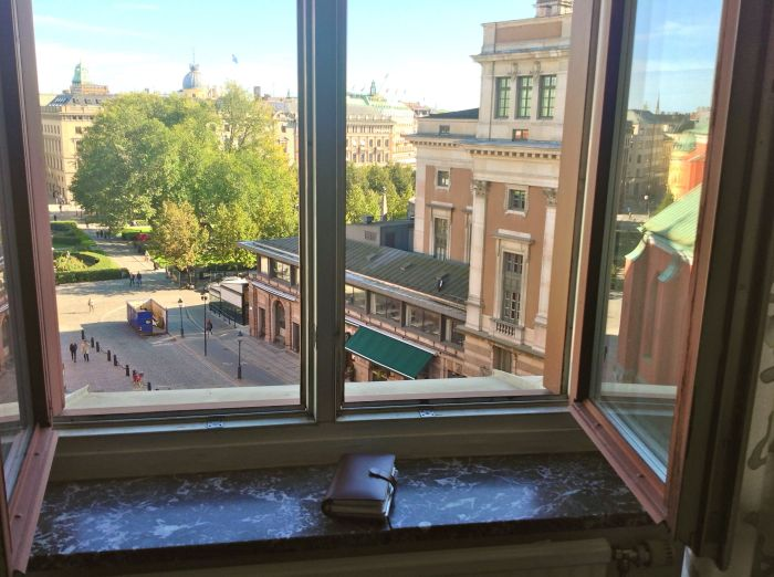 View from my office window, with my binder on the windowsill