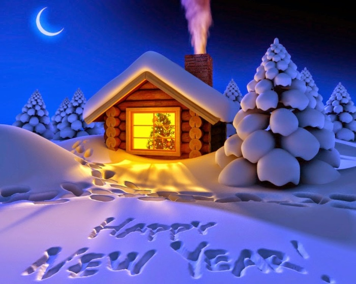 Happy New Year 2015 Snow Fall Night HD wallpaper