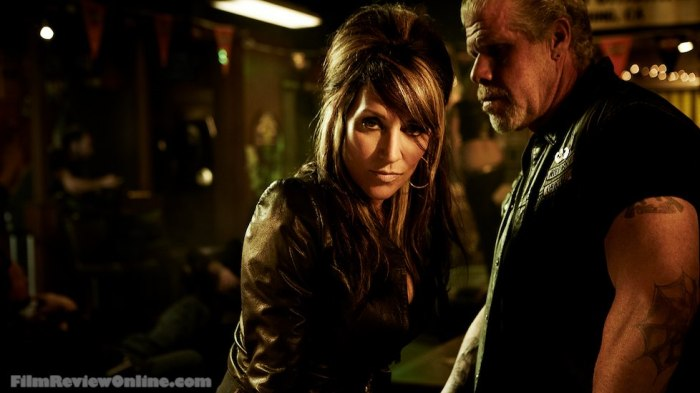Sons of Anarchy - Gemma Teller Morrow (Katey Sagal) and Clarence 'Clay' Morrow (Ron Perlman) © 2011 FX, Photo by James Minchin III