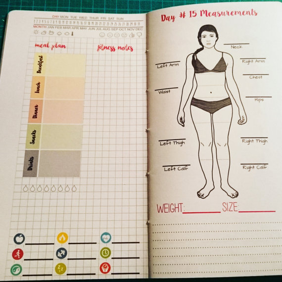 traveler s notebook weight loss and fitness inserts janet carr