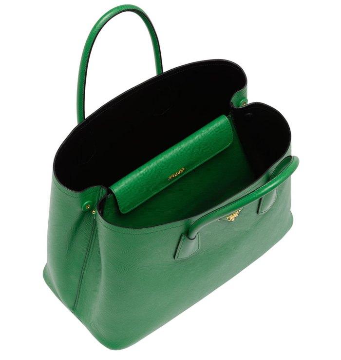 Prada-Saffiano-Cuir-Double-Bag-Green