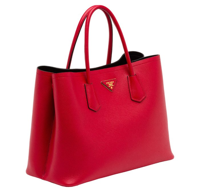 Prada-Saffiano-Cuir-Double-Bag-Red
