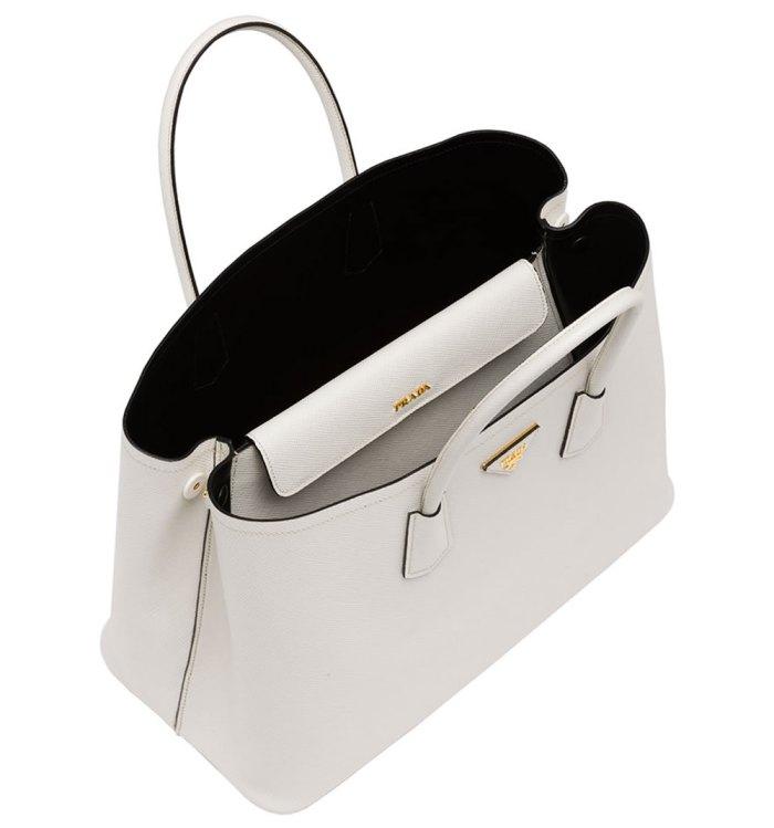 Prada-Saffiano-Cuir-Double-Bag-White