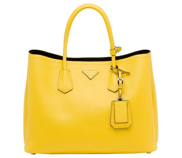 Prada-Saffiano-Cuir-Double-Bag-Yellow
