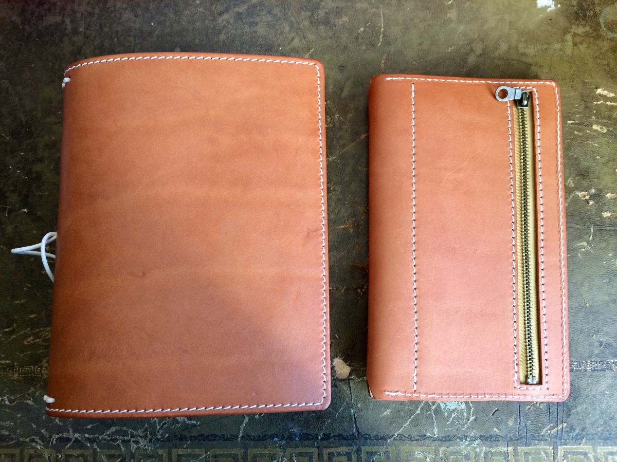 Apple Pig A5 + wallet insert in Natural Veg Tan leather