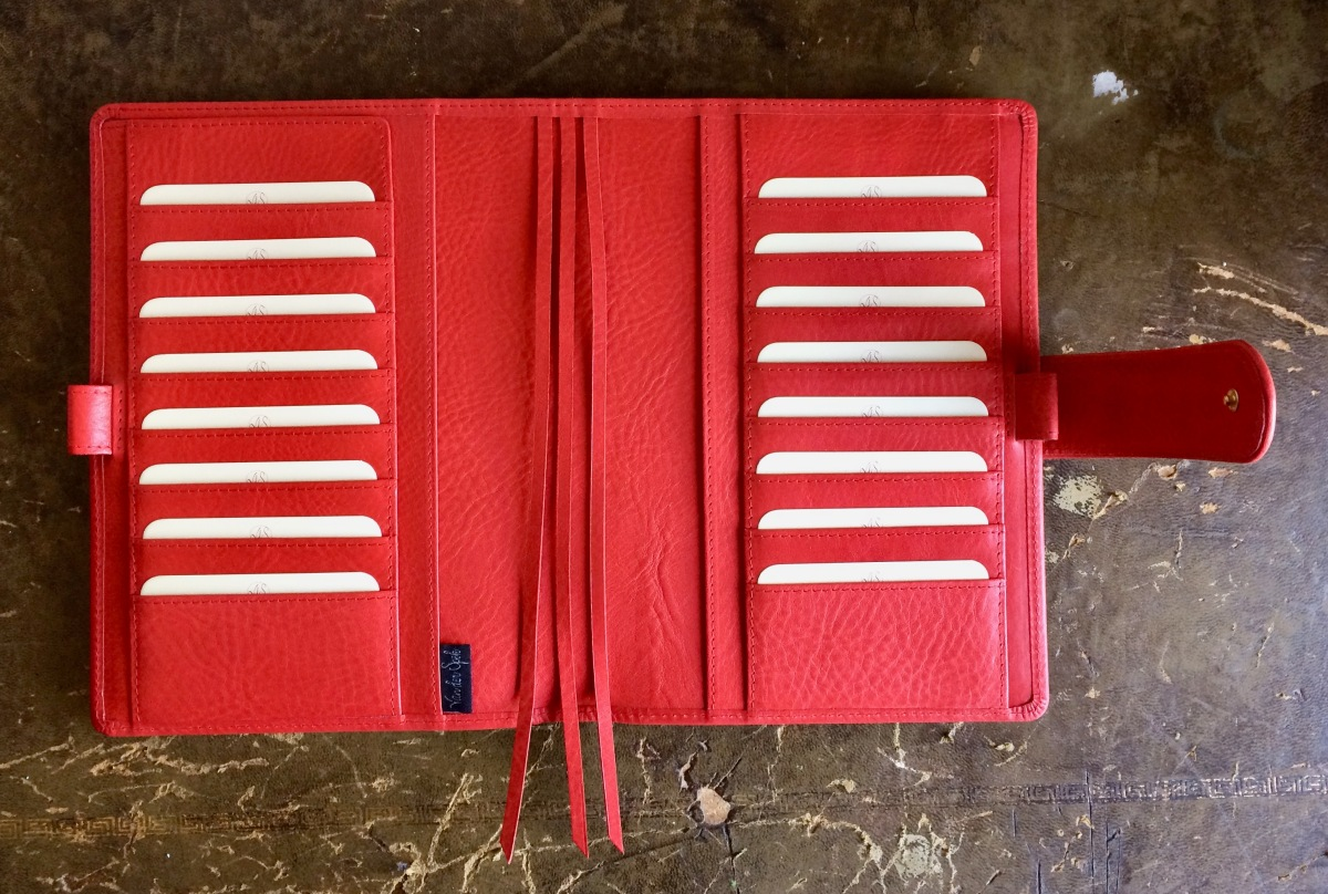 Red Janet Leather custom Hobonichi Cousin (A5) Codex cover from Van Der Spek