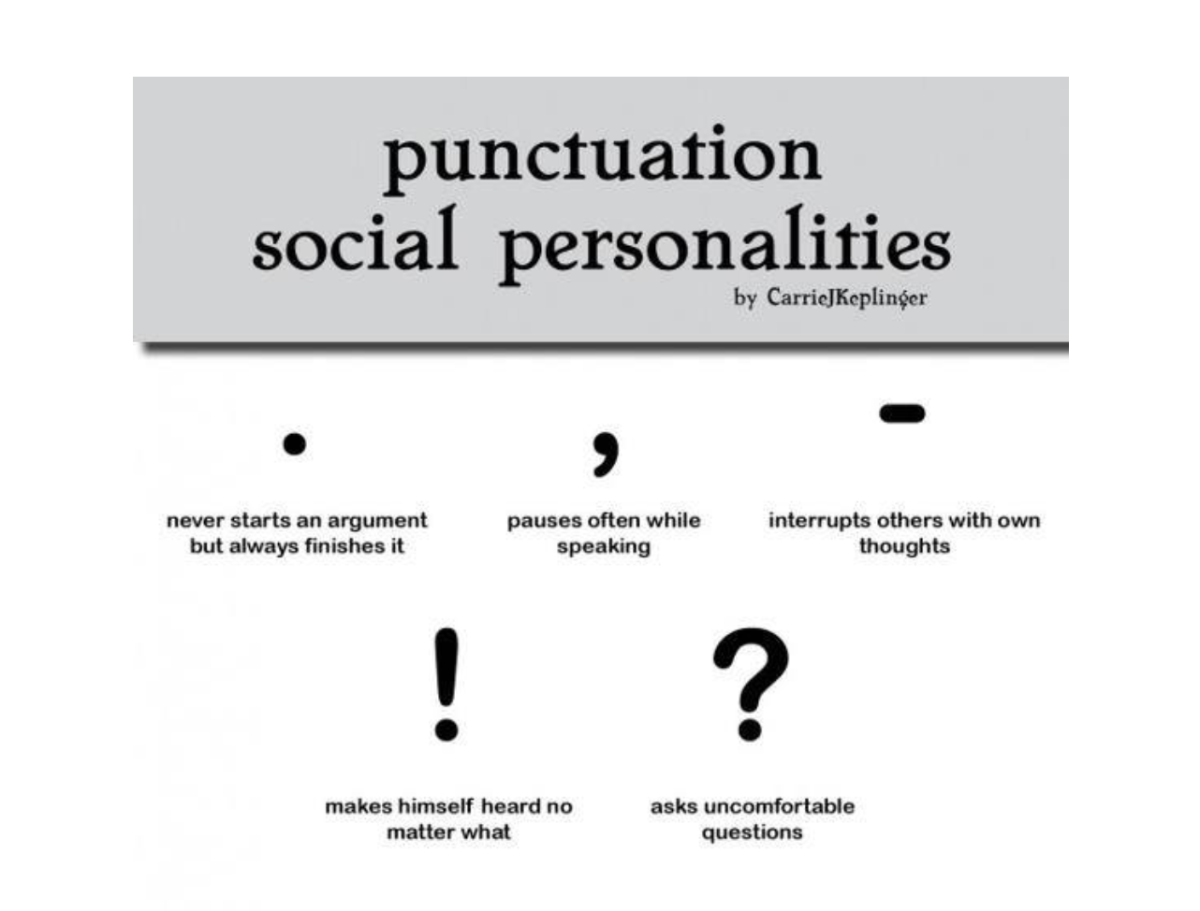 The social personalities of punctuation
